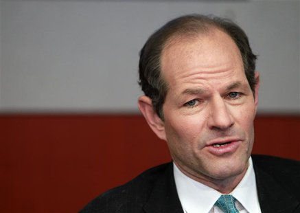 Former New York governor Eliot Spitzer speaks at the Reuters Global Financial Regulation Summit 2010 in New York in this April 28, 2010 file