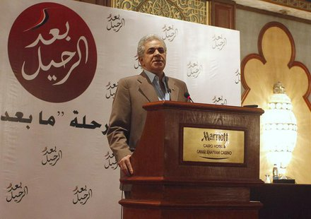 Leftist leader Hamdeen Sabahi talks during a news conference ahead of the planned protest against Egypt's President Mohamed Mursi, at the en