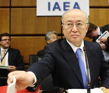 International Atomic Energy Agency (IAEA) Director General Yukiya Amano reaches for paper before an IAEA meeting in Vienna June 5, 2013. REU