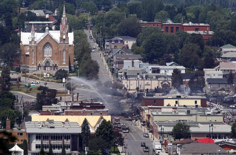 A view of the town from a lookout point at Lac Megantic, Quebec, July 7, 2013. REUTERS/Christinne Muschi