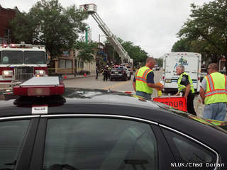 A stretch of W. College Ave. in Appleton is closed to traffic July 8, 2013, after the roof collapsed at Sign Works, 809 W. College Ave. Heavy rains were believed to be the cause of the collapse. (courtesy of FOX 11).