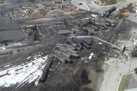 An aerial view of burnt train cars after a train derailment and explosion in Lac-Megantic, Quebec July 8, 2013 in this picture provided by t