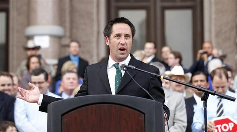 Texas Republican State Senator Glenn Hegar, one of the sponsor of the abortion bill SB1, speaks during an anti-abortion rally at the State C