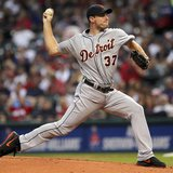 Detroit Tigers' Max Scherzer pitches during the first inning of their MLB American League baseball game against the Cleveland Indians in Cle