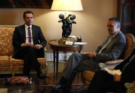 Portuguese opposition and Socialist Party leader Jose Antonio Seguro (L) meets with Portugal's President Anibal Cavaco Silva at Belem presid