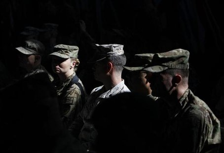 U.S. troops attend a change of command ceremony in Kabul February 10, 2013. REUTERS/Omar Sobhani