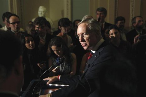 U.S. Senate Majority Leader Harry Reid (D-NV) addresses reporters after the weekly Democratic caucus luncheon at the U.S. Capitol in Washing