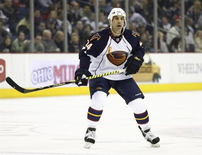 Atlanta Thrashers' Chris Chelios skates down the ice against the Columbus Blue Jackets during the first period of their NHL hockey game in C