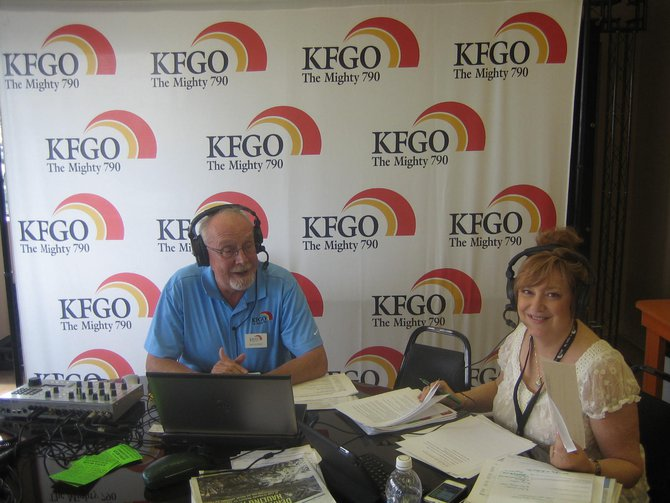 Jack and Sandy broadcasting live from the fairgrounds