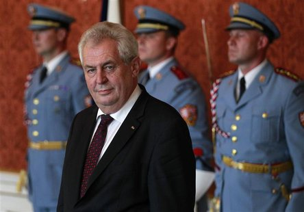 Czech President Milos Zeman attends ceremony at which he named Jiri Rusnok the new prime minister, at Prague Castle, in this June 13, 2013 f