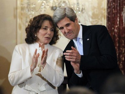 John Kerry is pictured with his wife Teresa Heinz-Kerry after being sworn-in as U.S. Secretary of State by U.S. Vice President Joe Biden (no
