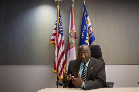 Sanford Police Chief Cecil E. Smith speaks at the police headquarters as the trial of George Zimmerman, the former neighborhood watch captai