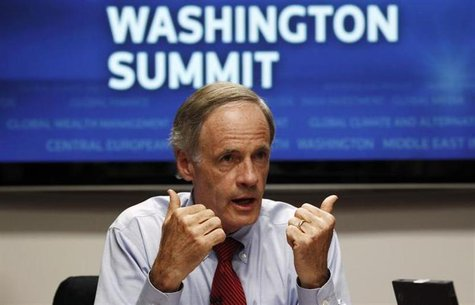 U.S. Senator for Delaware Tom Carper speaks during the Reuters Washington Summit September 22, 2010. REUTERS/Kevin Lamarque