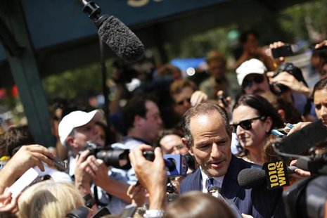 Former New York Governor Eliot Spitzer speaks to reporters during a campaign event in New York, July 8, 2013. REUTERS/Brendan McDermid