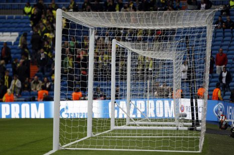A substitute goal stands along side the match goal before the Champions League semi-final second leg soccer match between Borussia Dortmund