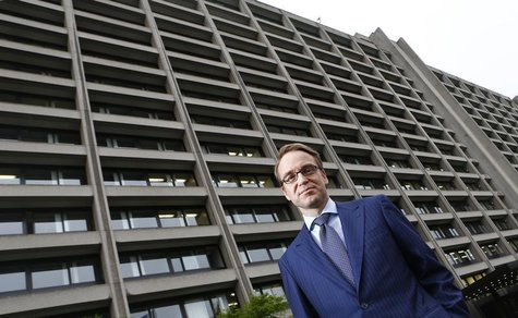 Germany's federal reserve Bundesbank President Jens Weidmann poses in front of the Bundesbank headquarters during a photo shoot with Reuters