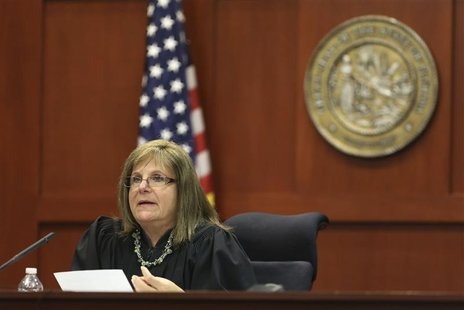 Circuit Judge Debra Nelson speaks from the bench in the George Zimmerman trial in Seminole circuit court in Sanford, Florida July 10, 2013.