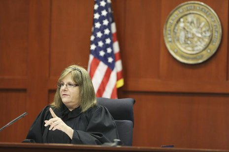Judge Debra Nelson gives instructions to the attorneys during George Zimmerman's trial in Seminole circuit court in Sanford, Florida July 11