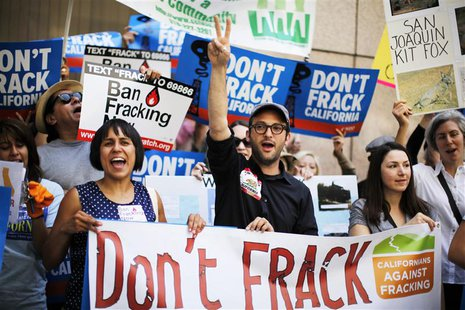 Filmmaker Josh Fox (C) joins a protest against fracking in California, in Los Angeles in this May 30, 2013 file photo. REUTERS/Lucy Nicholso