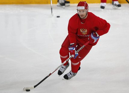 Russian hockey player for the New Jersey Devils, Ilya Kovalchuk, skates during a team training session at the Hartwall Arena in Helsinki, Ma