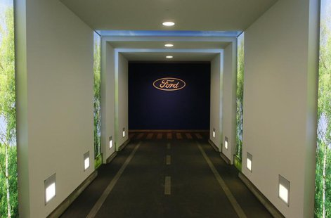 The logo of carmaker Ford is pictured in a corridor at a Ford factory in Cologne February 4, 2013. REUTERS/Wolfgang Rattay
