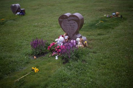 Flowers and stuffed animals are seen at the grave sites of Charlotte Helen Bacon (C), Ana Grace Marquez-Greene (L) and Allison Wyatt, three