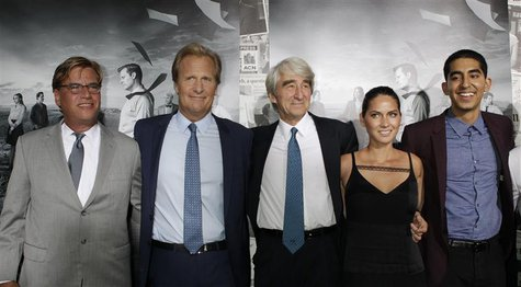 Aaron Sorkin (L), creator and executive producer, and actors Jeff Daniels (2nd L), Sam Waterston (C), Olivia Munn and Dev Patel (R) arrive f