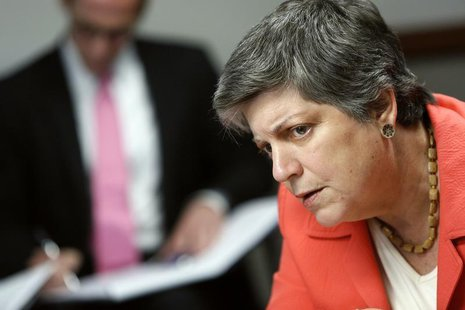 U.S. Homeland Security Secretary Janet Napolitano listens to a reporter's question during the Reuters Cybersecurity Summit in Washington, Ma