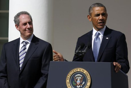 U.S. President Barack Obama announces Michael Froman (L) as his nominee for U.S. Trade Representative while in the Rose Garden at the White