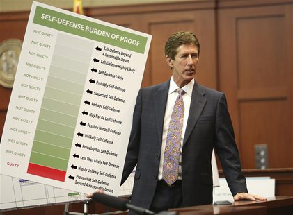 Defense counsel Mark O'Mara holds up a chart during closing arguments in George Zimmerman's trial in Seminole circuit court in Sanford, Flor