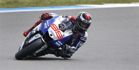 Yamaha MotoGP rider Jorge Lorenzo of Spain takes a Curve during the Dutch Grand Prix in Assen June 29, 2013. REUTERS/Michael Kooren