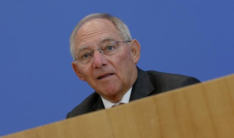 German Finance Minister Wolfgang Schaeuble addresses a news conference to presents 2014 federal budget bill in Berlin June 26, 2013. REUTERS