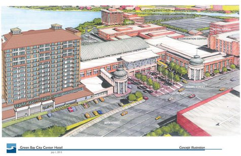 Green Bay City Center Hotel (Artist rendering provided by Edgewater Resources LLC)
