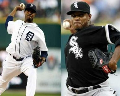 A CUB VERSION IS COMING SOON: The faces of well-traveled RHP Edwin Jackson pitching at Comerica Park in Detroit while as a member of the Detroit Tigers (L) and Chicago White Sox (R) REUTERS/Rebecca Cook