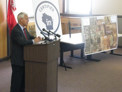 WEDC Secretary Reed Hall during Stevens Point announcement of the East Park Commerce Center making the Certified In Wisconsin list.