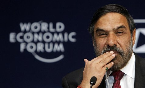 India's Minister of Commerce and Industry Anand Sharma attends the opening plenary session of the World Economic Forum (WEF) India Economic