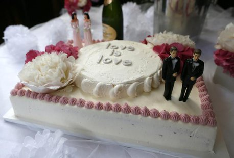 A wedding cake at a reception for same sex couples is seen at The Abbey in West Hollywood, California, July 1, 2013. REUTERS/Lucy Nicholson