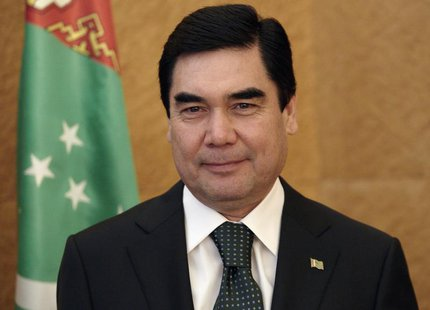 Turkmenistan's President Kurbanguly Berdymukhamedov stands during a photo opportunity at an official visit to the United Nations European he