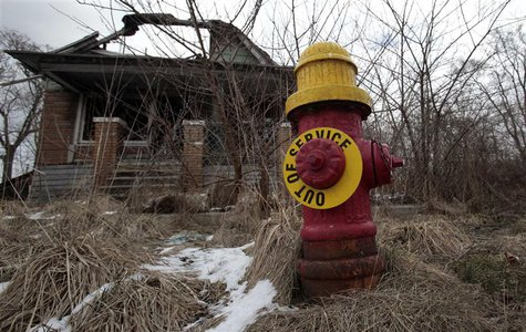 "A fire hydrant is seen with an ""Out of Service"" sign on a blighted street on the east side of Detroit, Michigan in this March 22, 2013 file"