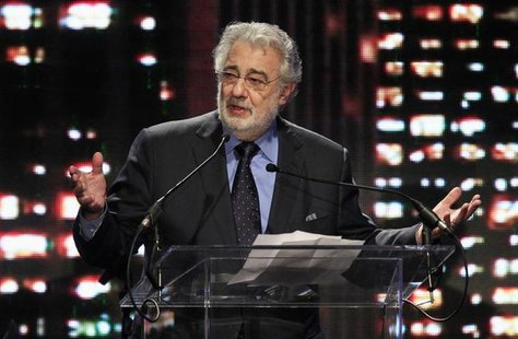 "Tenor and conductor Placido Domingo, general director of the Los Angeles Opera, speaks as he accepts the ""Heart of the City Award"" at the Ce"
