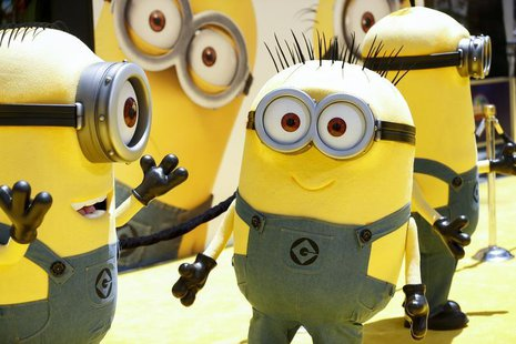 "Minion characters pose on the yellow carpet arrivals area at the American premiere of the animated film ""Despicable Me 2"" at Universal CityW"