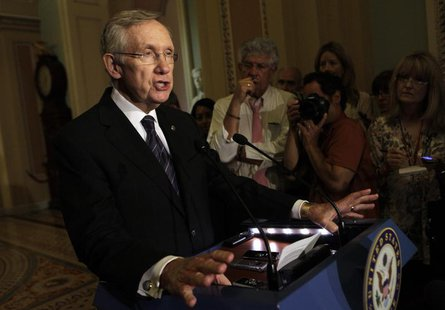 U.S. Senate Majority Leader Harry Reid (D-NV) speaks to the media about an immigration reform on Capitol Hill in Washington June 18, 2013. R