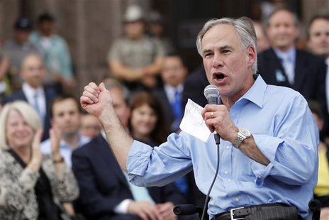 Texas Attorney General Greg Abbott speaks during an anti-abortion rally at the State Capitol in Austin, Texas, July 8, 2013. REUTERS/Mike St