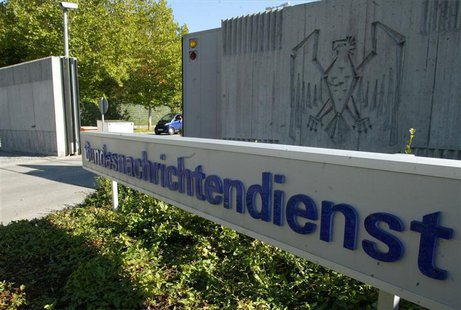 File picture shows the main entrance of Germany's intelligence agency Bundesnachrichtendienst (BND) headquarters in Pullach, about 15 kilome