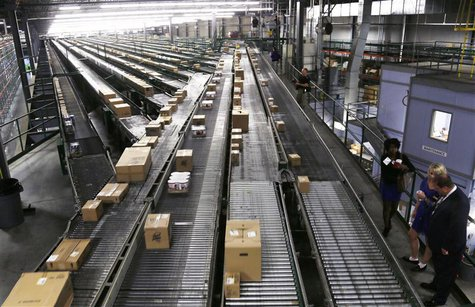 Conveyors are seen at a Wal-Mart Stores Inc distribution centers in Bentonville, Arkansas June 6, 2013. The annual shareholders meeting for