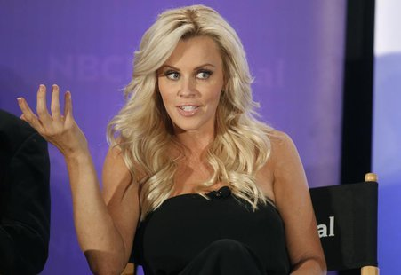 "Actress Jenny McCarthy, host of the new reality series ""Love in the Wild"" takes part in a panel discussion at the NBC Universal Summer Press"