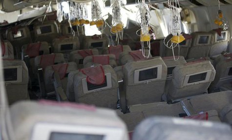 The interior of the Asiana Airlines Flight 214 that crashed at San Francisco International Airport in San Francisco, California is shown in
