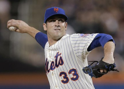 New York Mets starting pitcher Matt Harvey throws a pitch to the Arizona Diamondbacks in the first inning of their MLB National League game