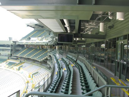 The view inside the new south end zone expansion at Lambeau Field.
