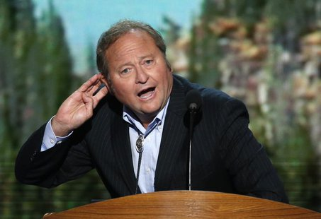 Governor of Montana Brian Schweitzer gestures as he addresses delegates during the final session of the Democratic National Convention in Ch